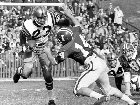 Purdue's Leroy Keyes faces Indiana's Dave Kornowa in this Nov. 25, 1967 photo in the Old Oaken Bucket game in Bloomington, Ind.