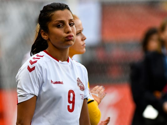 Denmark's Nadia Nadim reacts after her team losing the Women's Euro 2017 final soccer match between Netherlands and Denmark in Enschede, the Netherlands, Sunday, Aug. 6, 2017. (AP Photo/Patrick Post)