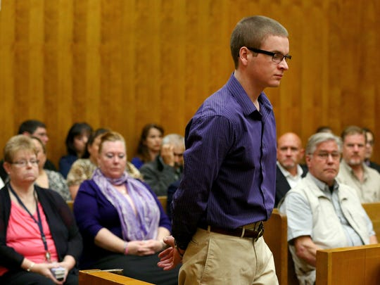 Brett Pearson enters the courtroom before being sentenced