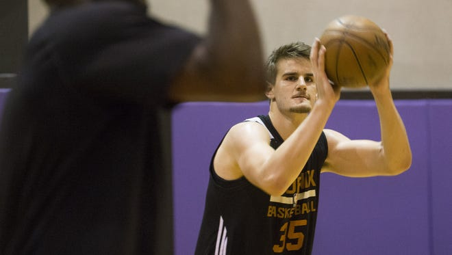 Phoenix Suns forward Dragan Bender works on his shot during practice at Talking Stick Resort Arena in Phoenix, Ariz. July 5, 2017. The team is preparing for the NBA Summer League in Las Vegas.