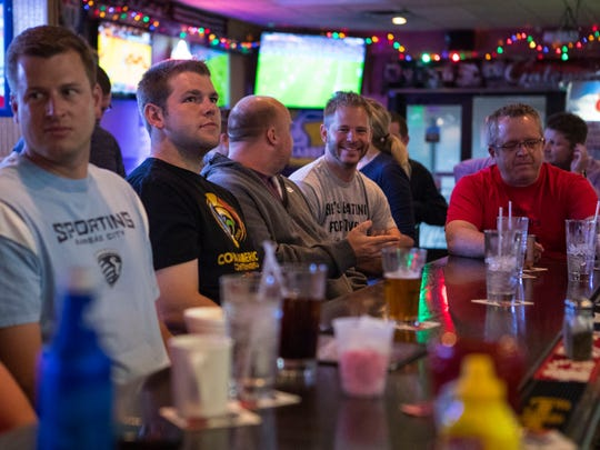 Soccer fans watch the Spain vs. Iran World Cup match at Gateway Lounge in Sioux Falls, S.D. on Wednesday, June 20, 2018.