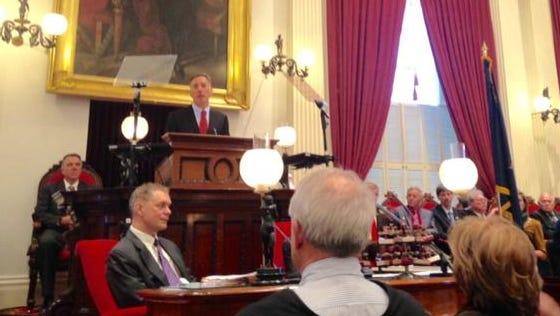 Gov. Peter Shumlin delivers his inaugural address Thursday.