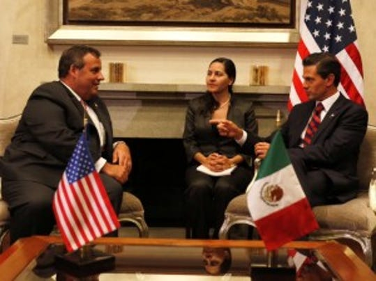 Gov. Chris Christie meets with President Enrique Pena Nieto of Mexico on Wednesday in Mexico City. (Tim Larsen/Governor's Office)
