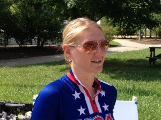 Olympic cyclist Lauren Tamayo leads Ride on Kids.