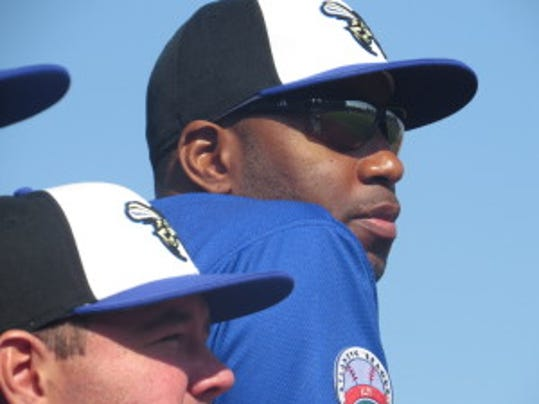 Seven-time NBA All-Star Tracy McGrady appeared at TD Bank Ballpark as a member of the Sugar Land Skeeters this weekend, but did not pitch  (Photo: Mike Ashmore)