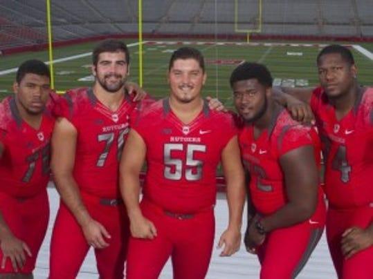 Taj Alexander, Chris Muller, Betim Bujari, Kaleb Johnson and Keith Lumpkin (left to right) form the Rutgers starting offensive line. (Jason Towlen/Staff photographer)