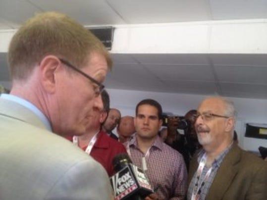 Maryland Jockey Club president Tom Chuckas, taking questions from the Preakness media.