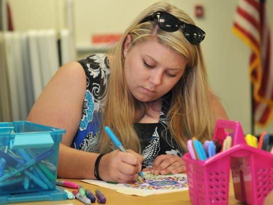 Library coloring club for adults
