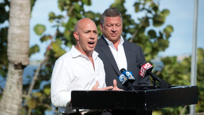 Congressman Brian Mast, a new member of the House Transportation and Infrastructure Committee, invited committee Chariman Bill Shuster for an aerial tour of central and south Florida waterways and a press conference Jan. 17, 2017 in Stuart. The duo took questions from local media and attendees before heading back to the helicopter to continue their tour.