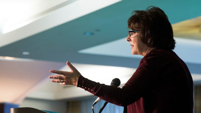 Eileen Connolly-Keesler, president and CEO of the Community Foundation of Collier County, gives closing remarks during the Celebration of Philanthropy at the Naples Grande Beach Resort on Friday, November 4, 2016 in North Naples. The Trustees Emerita of the Community Foundation of Collier County hosted the event.
