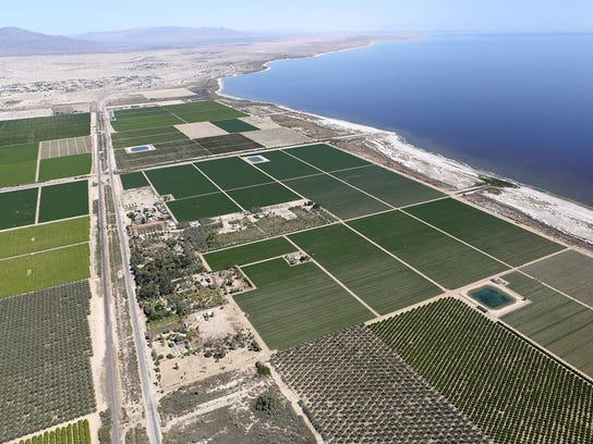 Farmland and Highway 111 run along the Salton Sea's