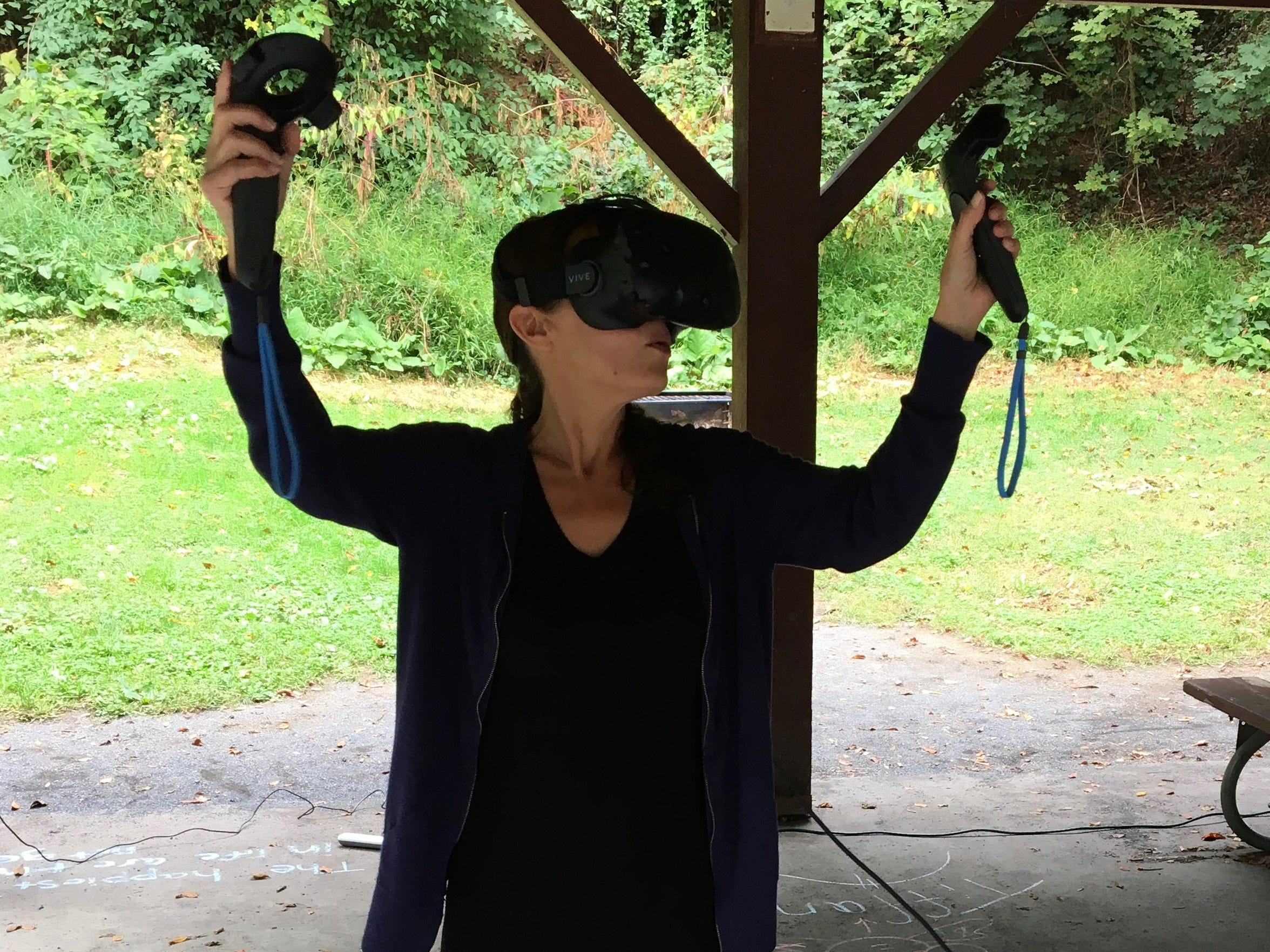 Reporter Monique Calello tries virtual reality on Tuesday,