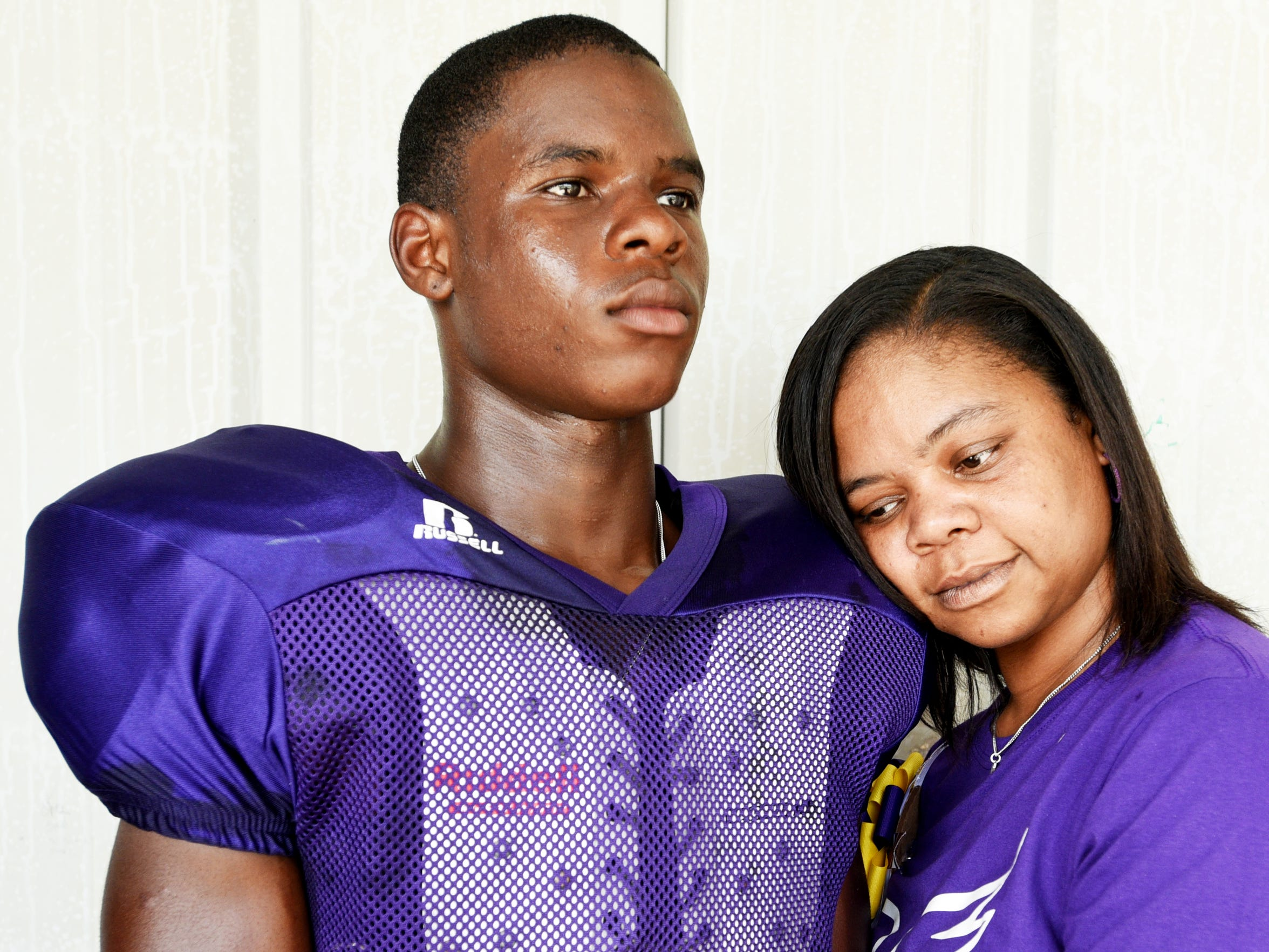 Janetta Brakefield shares a moment with her son, Xavier Simpson, twin brother of Javier Simpson, who drowned in the Sabine River in 2018.