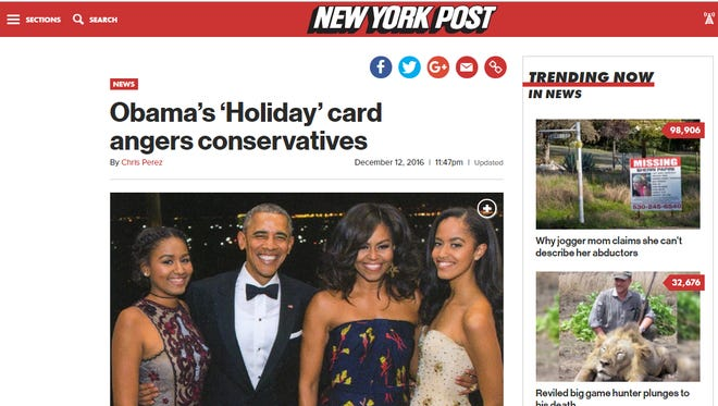 """A New York Post article claims, """"For the eighth straight year, President Obama has refused to mention the word 'Christmas' on his annual Christmas card."""""""