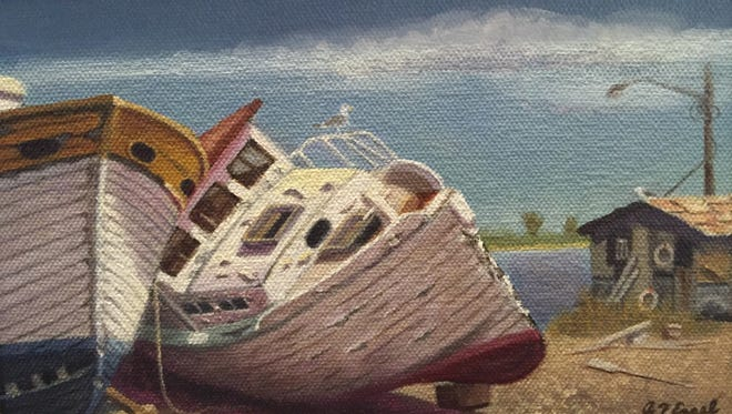 """When Boats Were Wood"" oil on canvas, 5-by-8, by Andrew Engel."