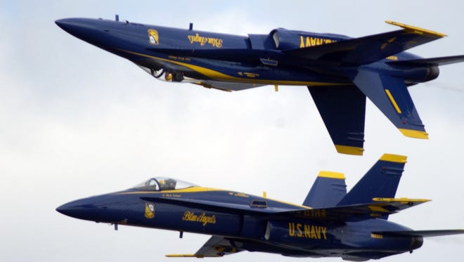 The Navy Blue Angels perform at Kennedy Space Center in 2008.
