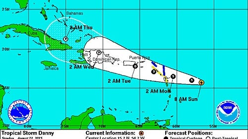 The 9 a.m. Sunday trajectory for Tropical Storm Danny