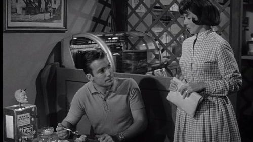 """William Shatner and Patricia Breslin perform in the """"Twilight Zone"""" episode """"Nick of Time."""""""