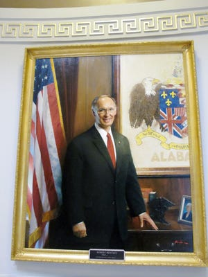 The official portrait of Alabama Gov. Robert Bentley at the State Capitol in Montgomery, Ala. Visitors to Alabama's Capitol for Bentley's inauguration Monday, Jan. 19, will be among the first to see the portrait by artist Jie Ruan.