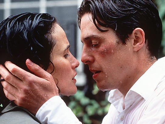 "Hugh Grant and Andie MacDowell in ""Four Weddings and"