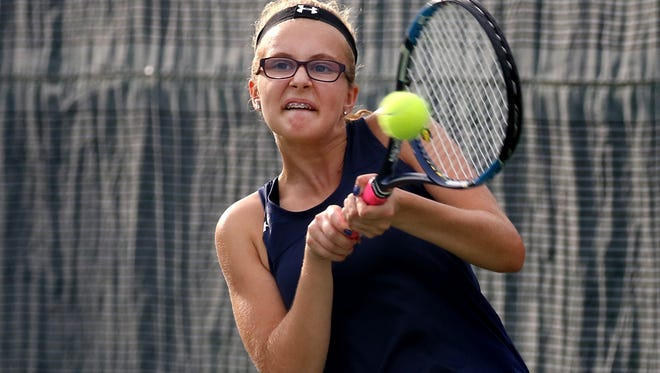 Whitnall's Jenna Dundas plays second singles against New Berlin Eisenhower at the Princeton Club in New Berlin on Sept. 21.