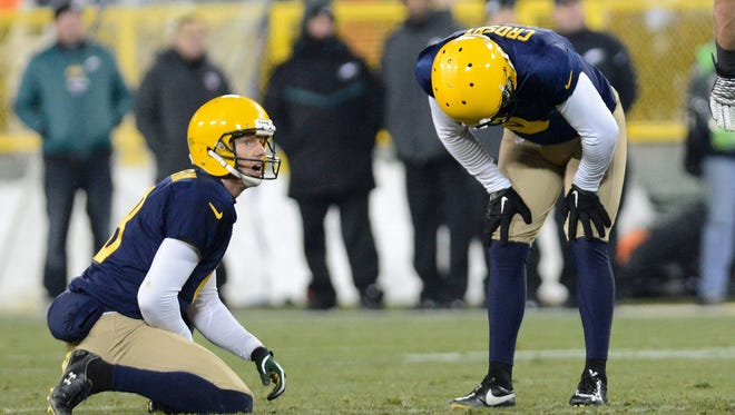 Green Bay Packers punter Tim Masthay (8) and placekicker Mason Crosby (2) react to a missed field goal.