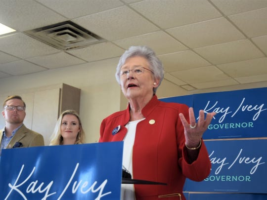 Gov. Kay Ivey speaks at Montgomery Aviation on June 4, 2018, prior to beginning a flying tour of the state ahead of the Republican primary. Ivey faces three challengers for the Republican nomination.
