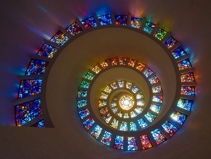 The spiral tower Chapel of Thanksgiving in