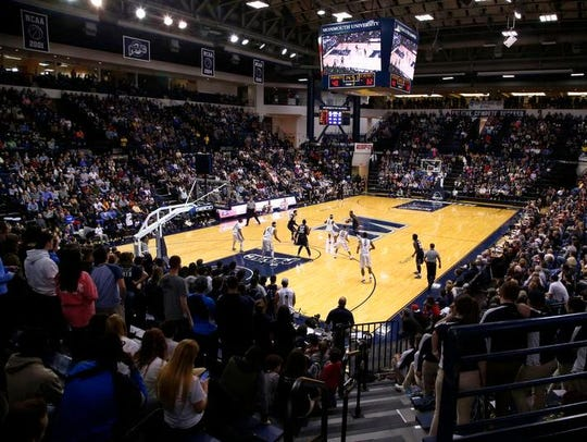 A sellout crowd of over 4,000 fills Monmouth University's