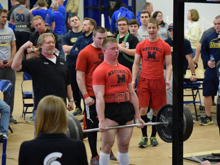 Marshall senior A.J. Jasienski placed first in the 181-pound division at the Michigan High School Power Lifting Association State Meet on March 12.