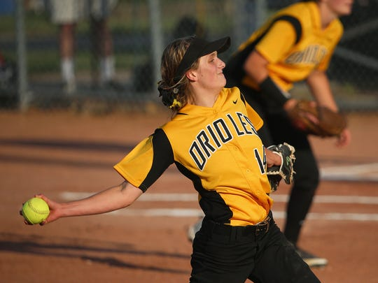 Haylie Foster pitches during Avon's Class 4A softball state finals win over Penn, June 11, 2016.