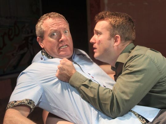 """Jason Avery and Doy Desmick  appear in the Theater Guild's presentation  of """"Cash on Delivery."""""""