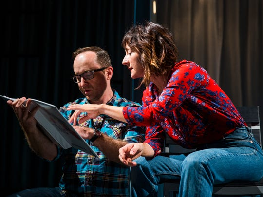 """Tony Award nominated actress, Carmen Cusack looks over sound cues with Tony Award winning sound designer, Leon Rothenberg during a rehearsal of the one-woman play, """"Do This"""", on Tuesday, January 3, 2017 at the Gulfshore Playhouse in downtown Naples. The play, written by Karen Siff Exkorn, is about her learning to deal with the life faced by her young autistic son. The play runs from January 7th through the 28th."""