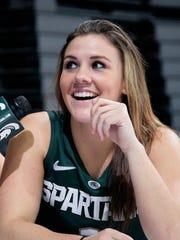 Tori Jankoska is interviewed during MSU women's basketball