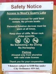 Mead's Quarry Lake notice