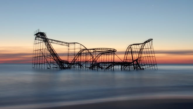 The Jet Star rollercoaster that was swept off the Casino Pier by Superstorm Sandy sits offshore in December 2012.       SEASIDE HEIGHTS ON DEC 24,2012 NEW  JERSEY MARK R. SULLIVAN/STAFF PHOTOGRAPHER/HOME NEWS TRIBUNE