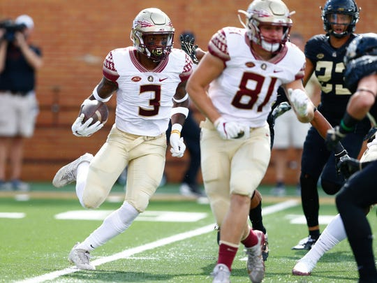 Florida State freshman running back Cam Akers (3) accumulated 58 yards on the ground during the Seminoles 26-19 victory on Saturday afternoon at BB&T Field.