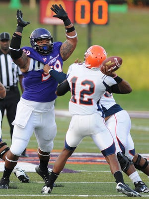 Northwestern State defensive tackle Deon Simon is headed to New York after being selected Saturday by the Jets in the seventh round of the NFL draft.