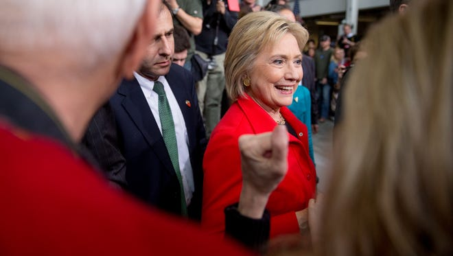 Democratic presidential candidate Hillary Clinton greets members of the audience after speaking at a rally at Iowa State University in Ames, Iowa Saturday, Jan. 30, 2016.