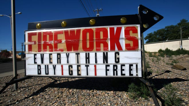 A sign for fireworks is pictured, Wednesday, June 20, 2018 in Farmington.