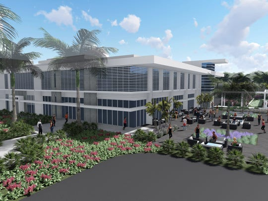Rendering of proposed fitness center at Arthrex in