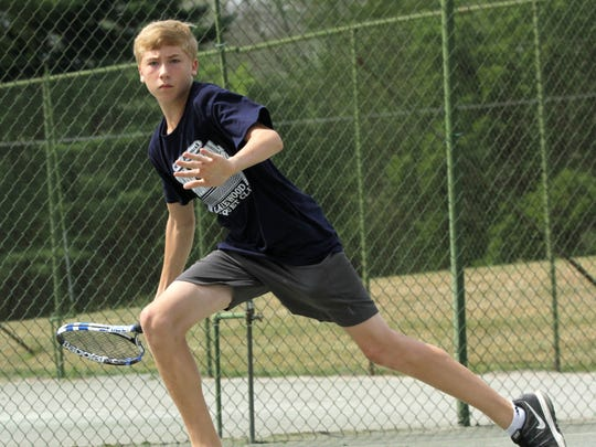 Benton Drake won the boys 14 singles title in Saturday's 83rd News Journal/Richland Bank Tennis Tournament, to go with the boys 12 title he won in 2014.