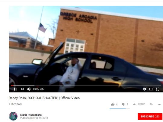 "A video titled Randy Ross| ""School Shooter"", was posted to YouTube on Feb. 19, 2018"