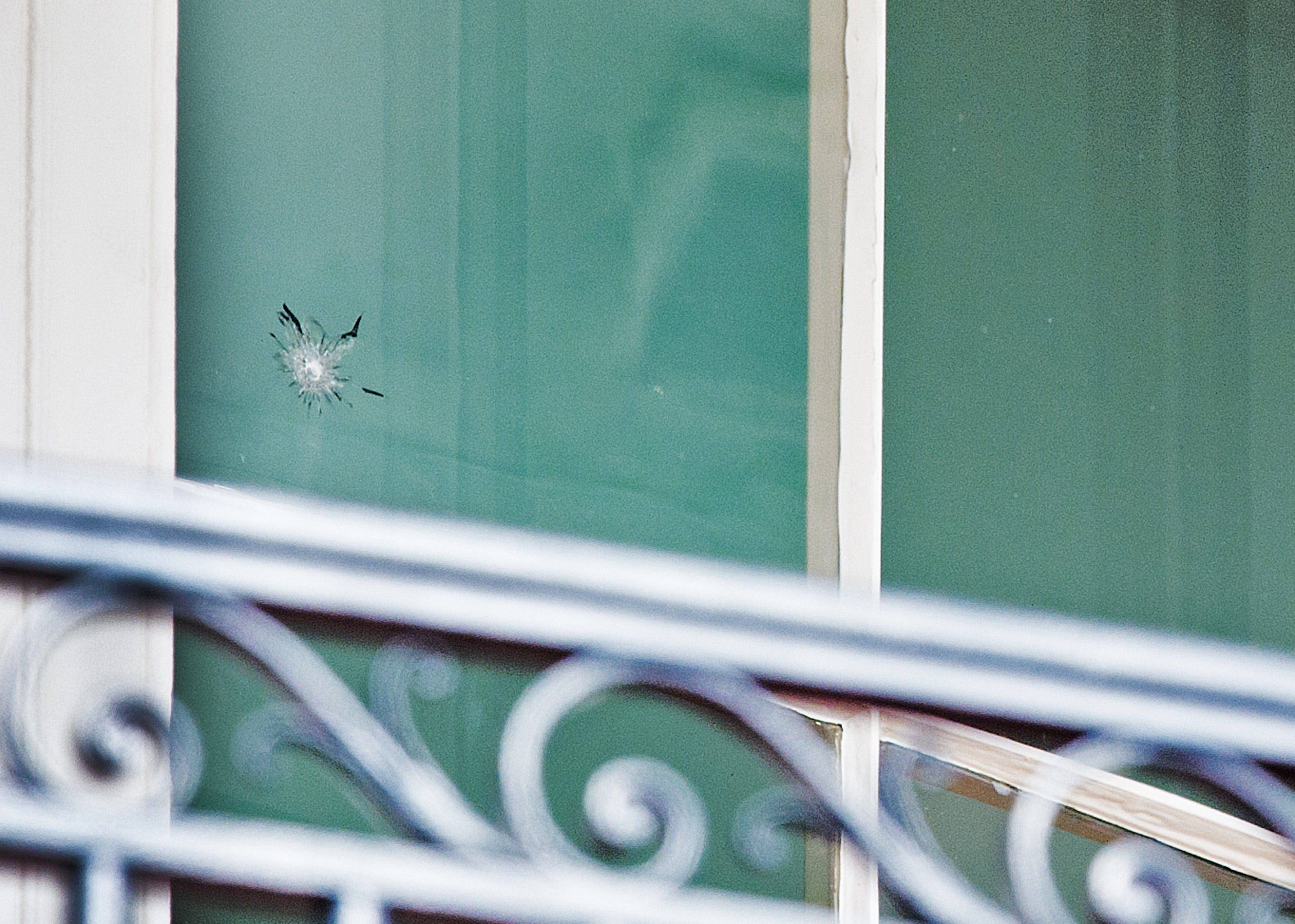 A Bullet Hole Is Seen In The Window On The Residential Level On The South  Side Of The White House On November 11, 2011. (Photo: PAUL J. RICHARDS ,  AFP/Getty ...