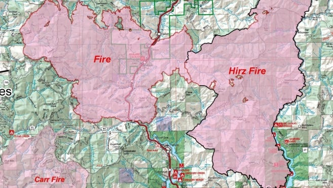 This U.S. Forest Service map shows the Delta Fire, on the left, in relationship to the Hirz and Carr Fires.