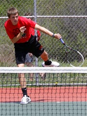SPASH's Jon Peck plays on a single boys tennis game during Thursday Wisconsin Valley Conference tennis meet at Wausau East High School tennis courts.
