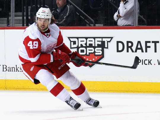 Red Wings forward Eric Tangradi skates in his first game with the team during the Wings' 4-2 win Monday in New York.
