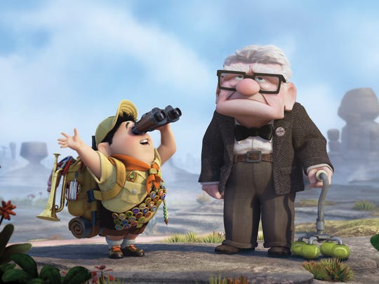 "Russell, left, and Carl Fredricksen are shown in a scene from the film, ""Up."""
