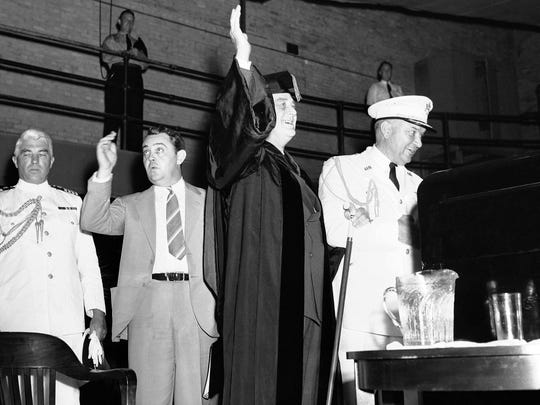 President Franklin D. Roosevelt takes part in the commencement
