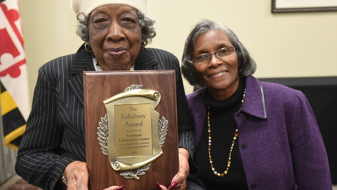 The Salisbury Award was presented to Mary Gladys Jones, left, founder of the Fruitland Community Center, and its executive director, Alexis Dashield,